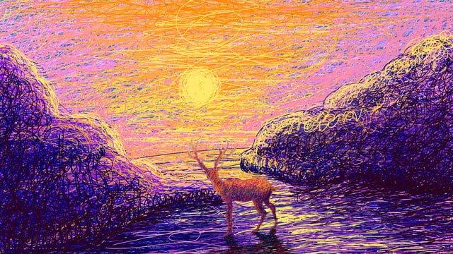 healing sunrise image elk illustration llustration image