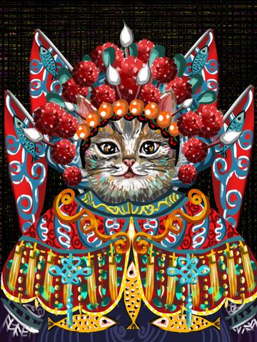 喵记印象油絵猫ドラマ北京オペラ国民の本格全国スタイル イラスト素材