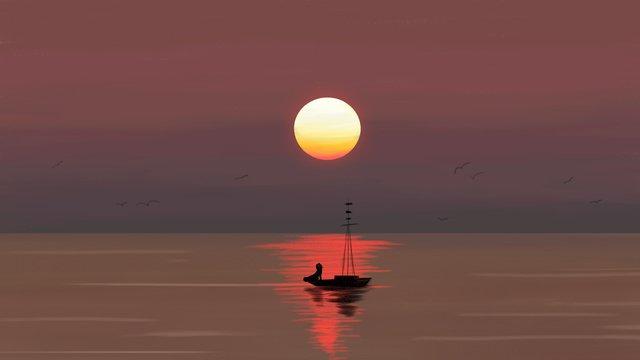 印象油絵風イディオム物語夕日西帆船航海カップル イラスト素材 イラスト画像