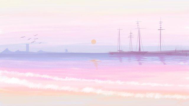 印象油絵、風イディオム物語、海と空、ワン治療、日の出、おはよう イラスト素材 イラスト画像