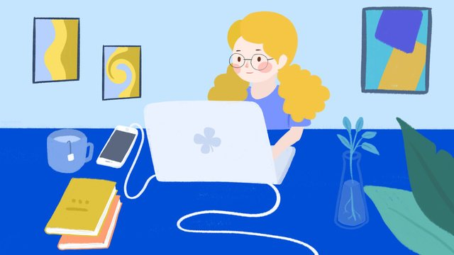 Cartoon cute business illustration of girl at work, In The Middle, Girl, Cute Cartoon illustration image