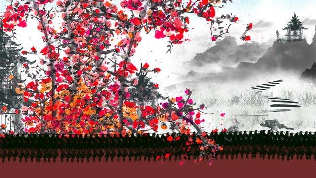 中国の絵画インキ、yuanshan temple、山の中庭のカレンダーがあります。 イラスト素材 イラスト画像