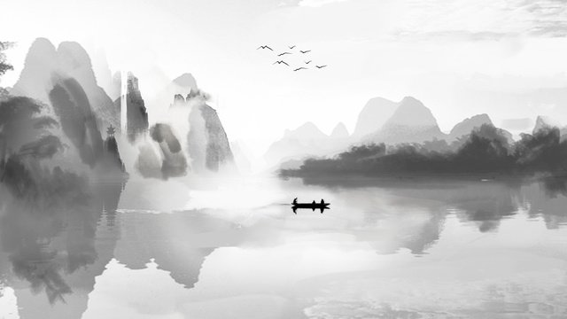 Chinese style ink and wash landscape painting splashing white, Ink, Landscape, Boat illustration image