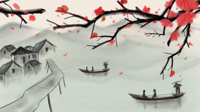 水墨山水畫 插畫素材 插畫圖片
