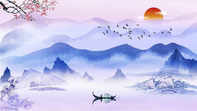 स्याही चीनी शैली दृश्य उपचार हाथ से चित्रित चित्रण चित्रण छवि चित्रण छवि