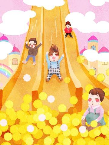 国際こどもの日baby crazy playクラウドスライドwarm healing illustration イラストレーション画像