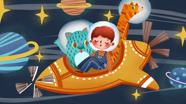 international childrens day kids and pets fly in space llustration image illustration image