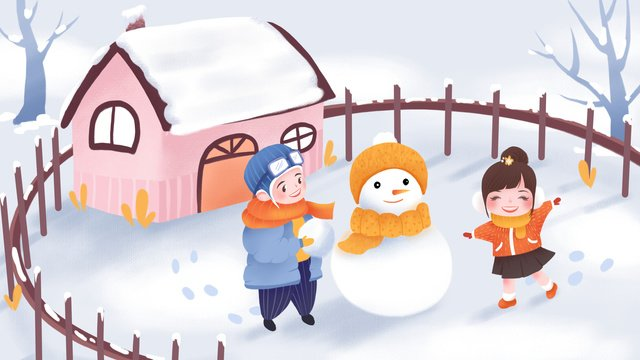 International childrens day snowman boy girl illustration llustration image