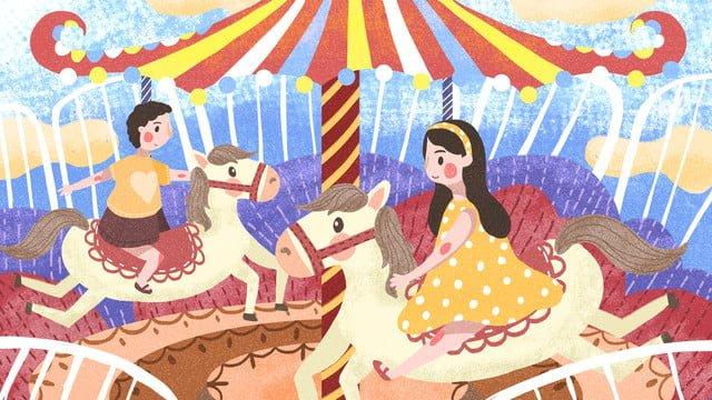 children playing carousel at international childrens day playground llustration image illustration image