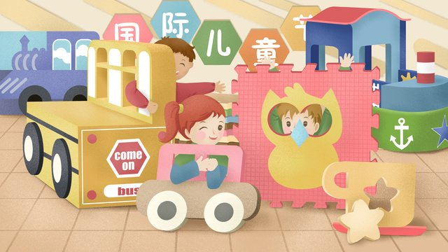 Original hand-painted illustration international childrens day, International Childrens Day, Childrens Day, Child illustration image