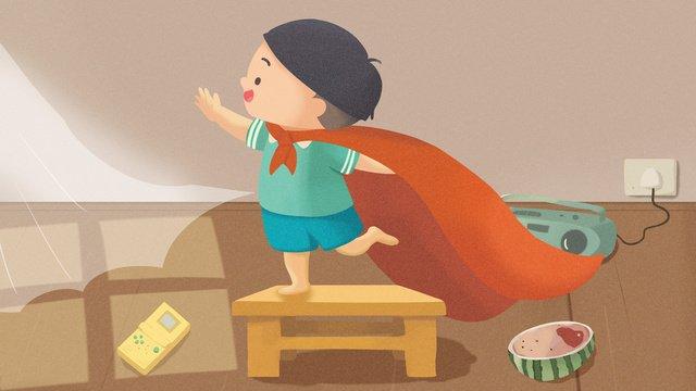 अंतर्राष्ट्रीय बाल दिवस के लिटिल सुपरमैन चित्रण चित्रण छवि