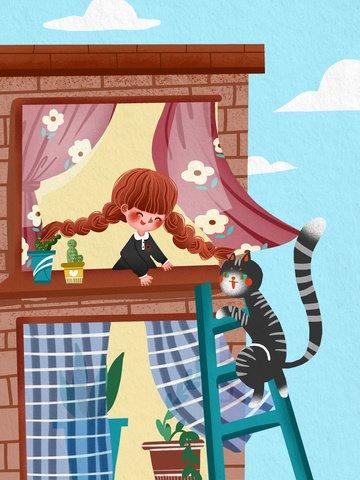 la ragazza e il gatto internazionali del giorno dei bambini si incontrano sullillustrazione calda davanzale della finestra Immagine dell'illustrazione