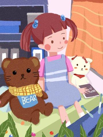 국제 어린이 날 소녀와 새끼 시계 tv love flat wind illustration 삽화 소재