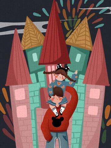国際こどもの日小さな女の子と兄弟がかわいいイラストを遊んで遊園地に行く国際こどもの日  小さな女の子  兄弟 PNGおよびPSD illustration image