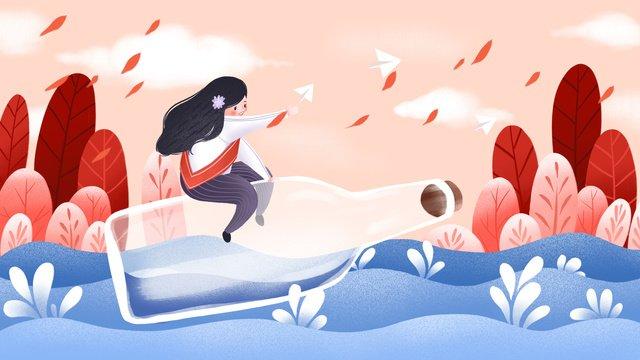 international childrens day plane girl illustration llustration image