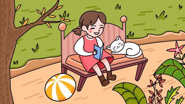 国際こどもの日を読む少女と猫のイラスト国際こどもの日  読書の女の子  少女 PNGおよびPSD illustration image