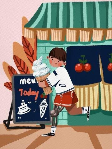 アイスクリームショップかわいいイラストで働く国際無効日少年 イラスト素材 イラスト画像