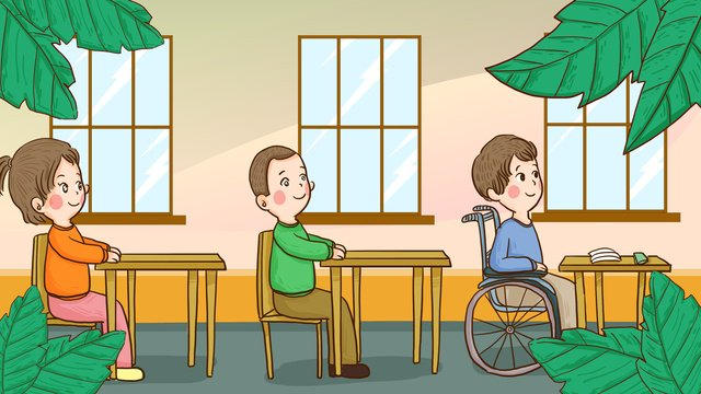 international disabled day children with disabilities and normal people go to school together llustration image illustration image
