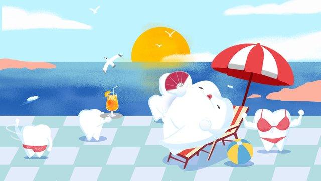 प्यार दांत दिन धूप समुद्र तट छोटे स्पष्ट चित्रण छवि