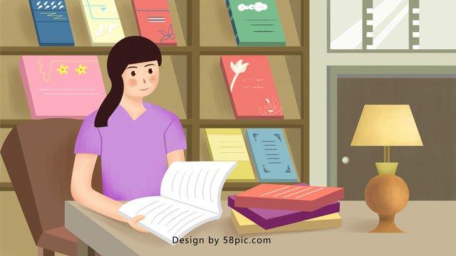 Ngày quốc tế cô gái đọc sách trong thư việnNgày  Quốc  Tế PNG Và PSD illustration image