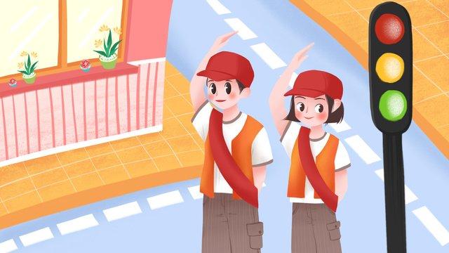 International volunteer day road boy girl illustration llustration image