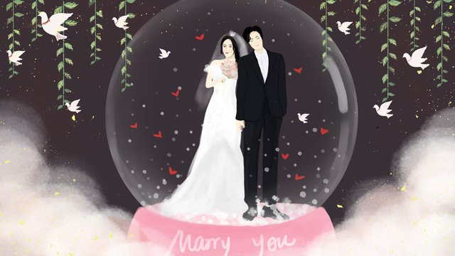 Wedding invitation crystal ball llustration image illustration image