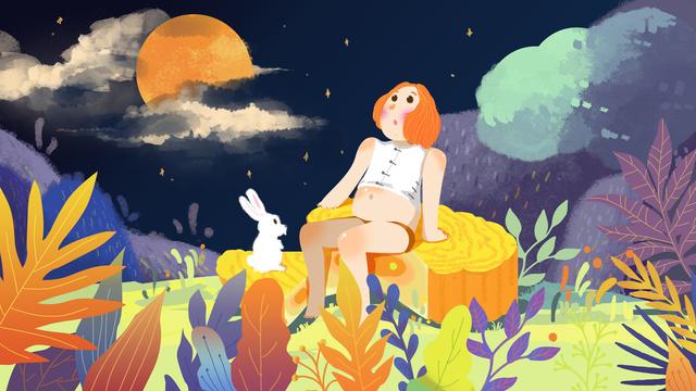 Little fresh mid-autumn festival cute fat girl and rabbit eat moon cake, Jade Rabbit, 嫦娥, Moon illustration image