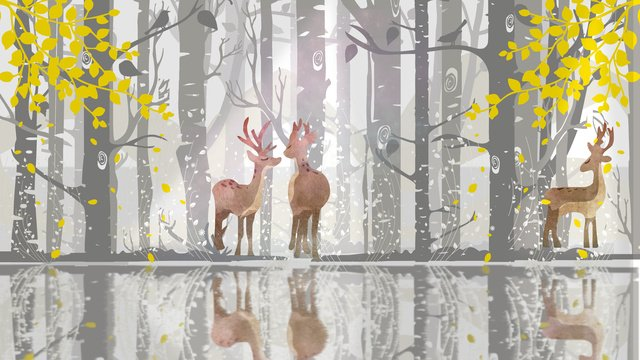 japanese small fresh healing system autumn and winter deciduous forest deer llustration image