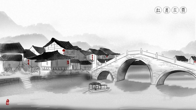 Jiangnan water town chinese ink illustration llustration image illustration image