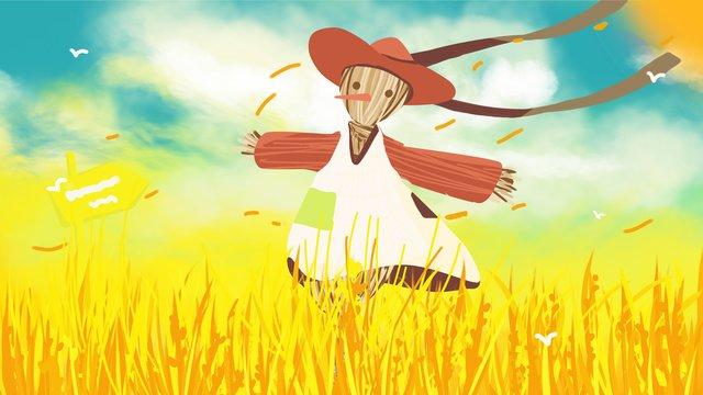 黄金の小麦畑晴れとカラフル イラスト素材