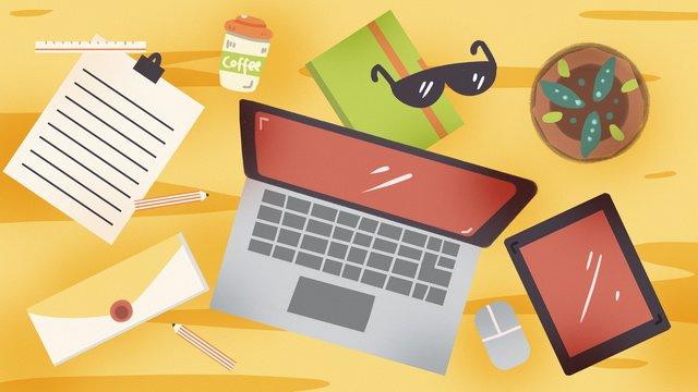 Рабочий стол настольный компьютер планшетный файл конверт книга Ресурсы иллюстрации