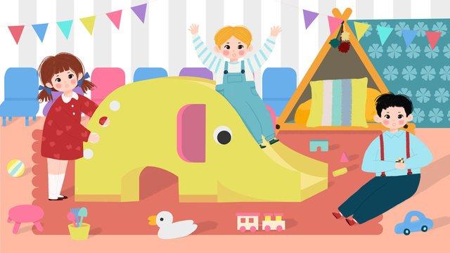 幼稚園国際こどもの日 イラストレーション画像