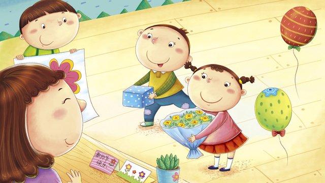 幼稚園の先生の日の子供たちありがとう先生かわいい漫画イラスト イラスト素材