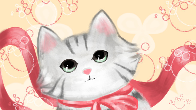 Meng 哒萌 pet little gray cat llustration image