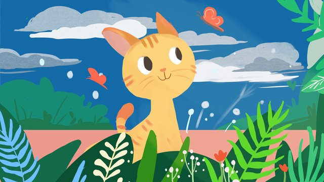 Kitten cute pet original illustration, Kitten, Cute Pet, Lovely illustration image