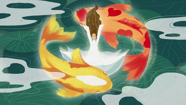 koi blessing girl lotus pond illustration llustration image