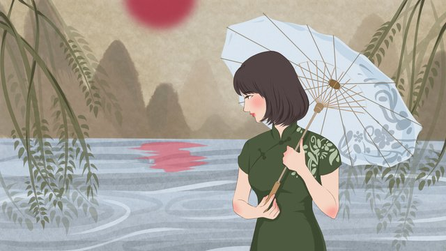 an original illustration of a cheongsam woman playing umbrella by the lake llustration image illustration image