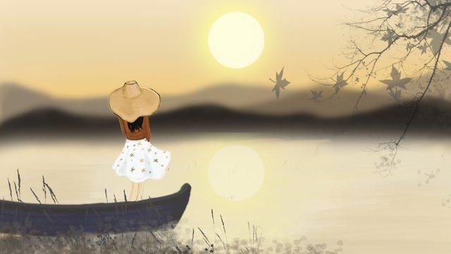Hello autumn girl on the boat, Landscape, Fall, Dusk illustration image