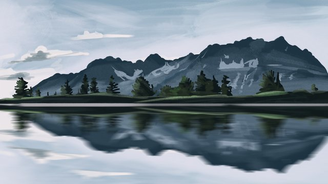 Landscape hand-painted realistic illustration, Landscape, Hand Painted, Realistic illustration image