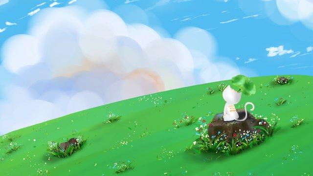 सरल ताजा नीला आकाश सफेद बिल्ली का चित्रण चित्रण छवि