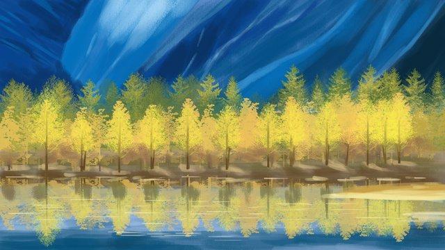 世界旅行日風景自然の手描きイラスト イラスト素材