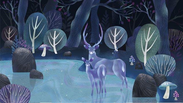 夜の夢の森のヘラジカ イラストレーション画像 イラスト画像