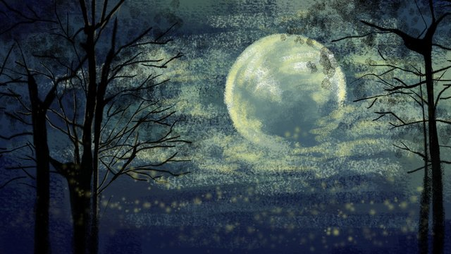 손으로 그린 달빛 달빛 나무 구름 그림 이미지