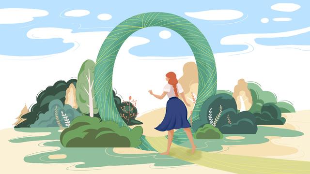 정글 소녀 그린 일러스트 레이션을 빽빽하게 편지 삽화 소재