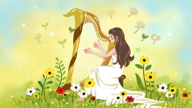 thư girl d cô gái chơi đàn hạc minh họa ban đầu tươi Hình minh họa