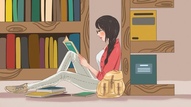 लेटर book e लड़की की बुकशेल्फ के खिलाफ एक किताब पढ़ने का मूल चित्रण चित्रण छवि