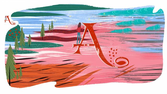 Letter 邂逅 color a original illustration, Letter 邂逅, Letter A, Color illustration image