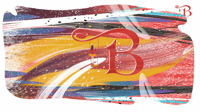 Letter 邂逅 color b original illustration, Letter 邂逅, Letter B, Girl illustration image