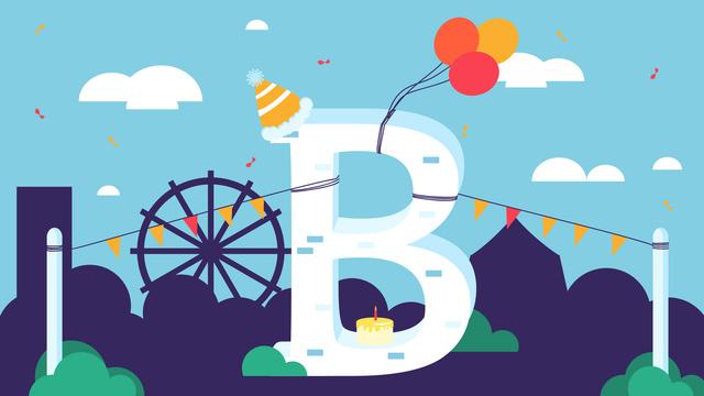 レター遊び場の誕生日パーティーのベクトル文字b イラスト素材 イラスト画像