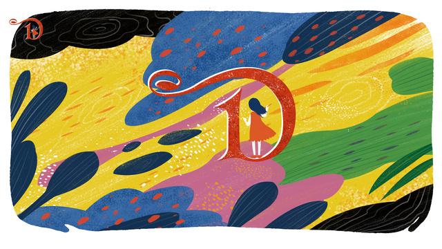 Letter 邂逅 color d original illustration, Letter 邂逅, Letter D, Color illustration image
